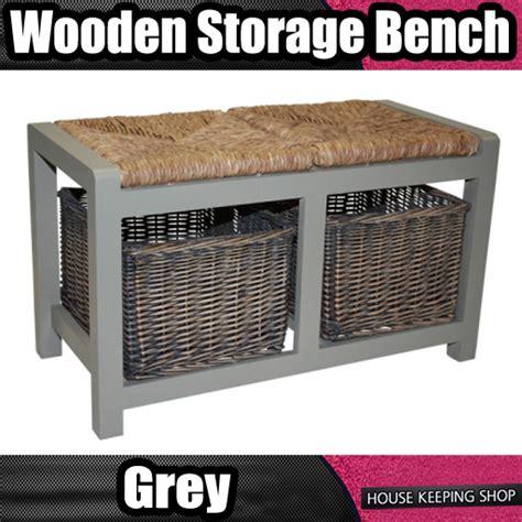 2 basket storage bench wicker rattan 2 basket drawer bench grey wood storage