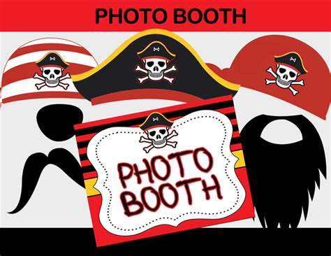 free printable photo booth props pirate pirate boy black red birthday party package instant