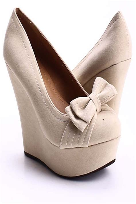Bow Accent Wedge Shoes faux suede bow accent wedges s wedge shoes for