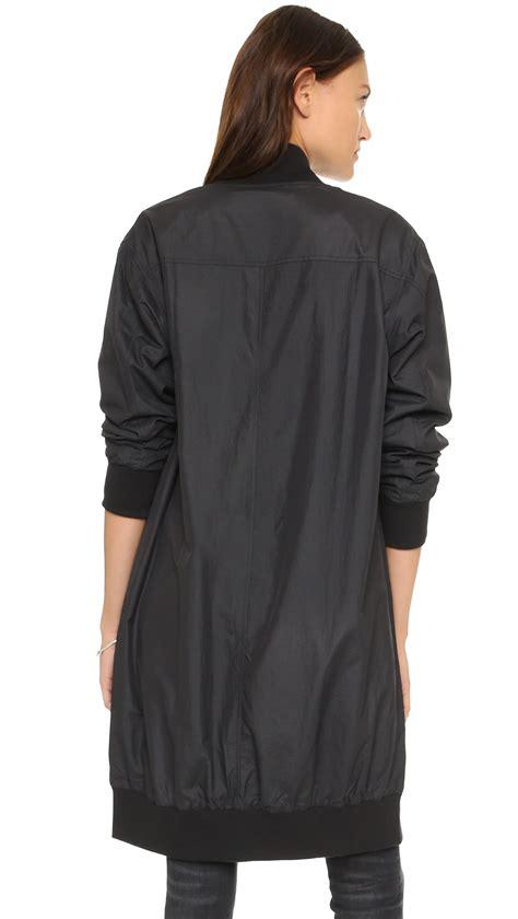 Nerina Black Bomber Jacket lyst oak bomber jacket black in black
