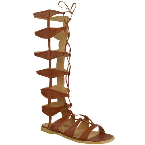 gladiator strappy flat sandals womens flat knee high strappy gladiator sandals