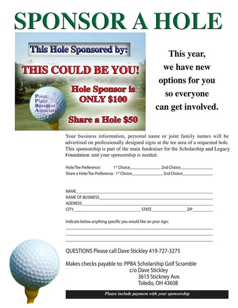 Sponsorship Letter Pearl Golf Outing Fundraiser July 31st 171 Point Place Business Association