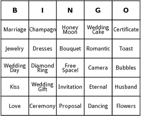 free bridal bingo card template 8 best images of custom bingo card printable template