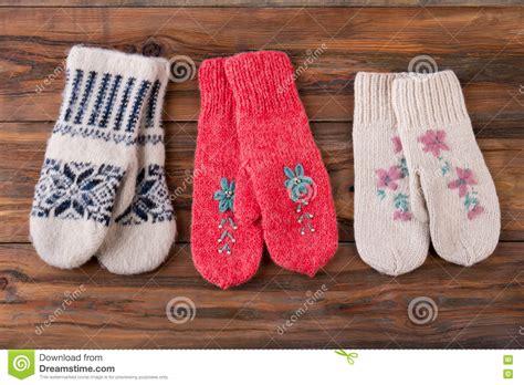 Handmade Woolen - three pairs of knitted handmade woolen mittens royalty