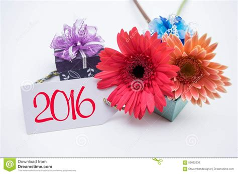 flower for new year 2016 happy new year 2016 with flower and tag isolated on a