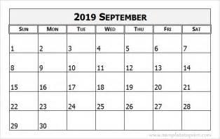 Calendar 2019 September September 2019 Calendar Template 2018 Calendar Printable