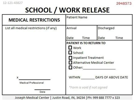 Release Letter From Doctor school work release doctors note template demplates