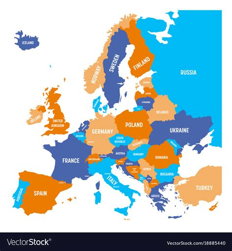 political colors political map of europe continent in four colors vector image