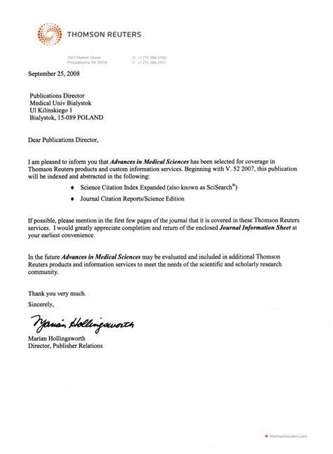 Acceptance Letter For Article Publication Journal Advances In Sciences