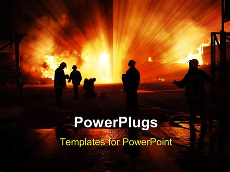 powerpoint themes free download fire powerpoint template silhouette of firefighters with fire