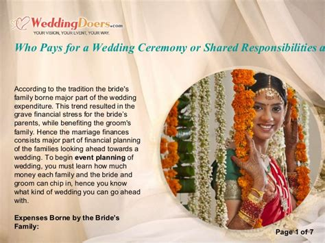 who pays for a wedding ceremony or shared responsibilities as per tra