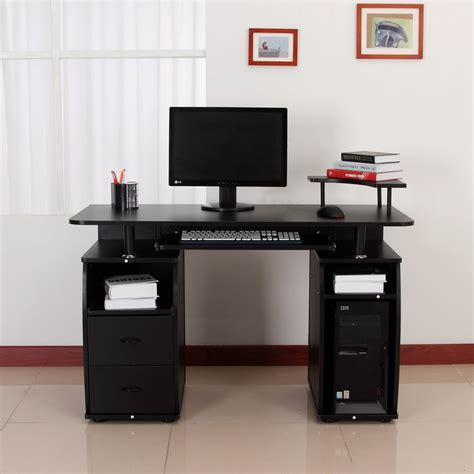 pc bureau multimedia homcom bureau pour ordinateur table meuble pc informatique