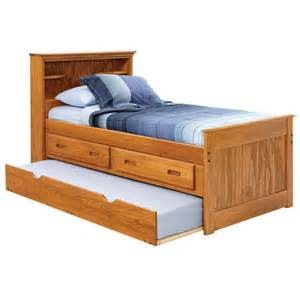 captain bed with bookcase storage and trundle unit