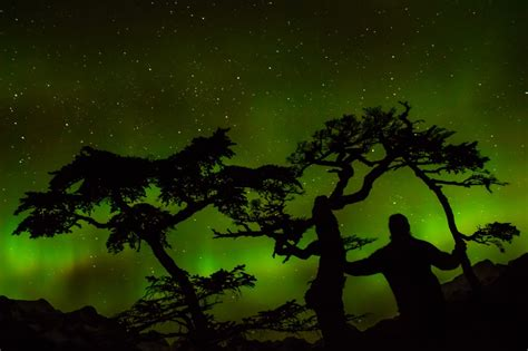 Northern Lights Cahaya Kutub Nora gambar pemandangan alam salju musim dingin langit