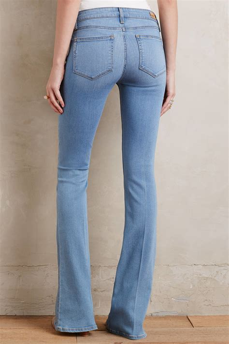 paige petite jeans paige lou lou mid rise petite flare jeans in blue lyst