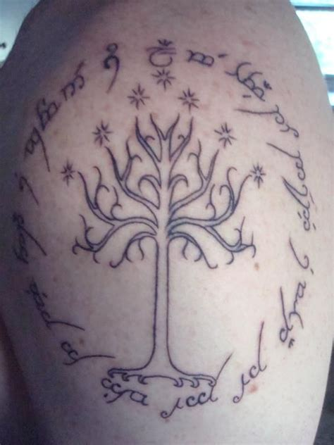 elvish tattoos the design of my the white tree of gondor