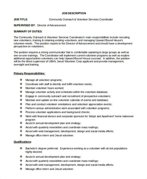 volunteer coordinator description sle sle program coordinator description 9 exles in pdf word
