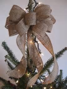 burlap tree topper bow christmas christmas joy to the