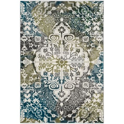 Safavieh Watercolor Ivory Peacock Blue 8 Ft X 10 Ft Area Peacock Blue Area Rug