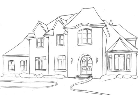 draw house house drawings easy images