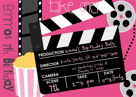 printable birthday invitations movie theme free movie birthday party invitation printable party invitation