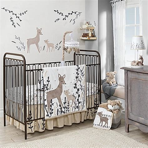 deer baby bedding set lambs ivy 174 meadow deer crib bedding collection in tan white buybuy baby