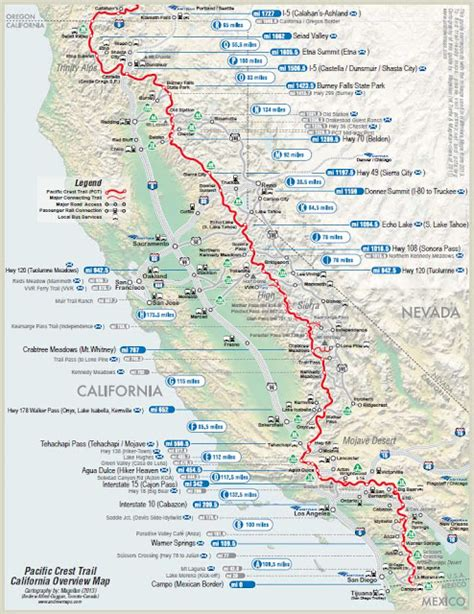 pacific crest trail california sections take a hike map of the pacific crest trail