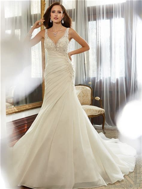 Sexy Mermaid V Neckline Low Back Ruched Organza Lace Beaded Corset Wedding Dress Detachable Train