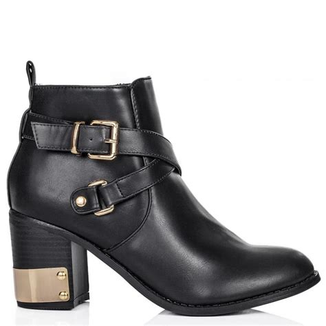 buy defiance block heel buckle ankle boots black leather
