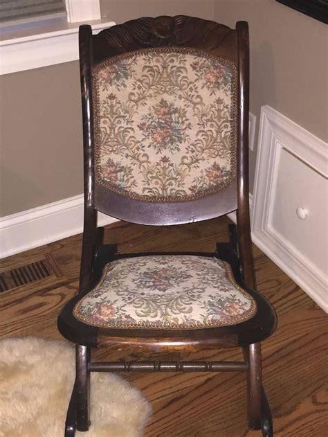 armless folding rocking chair antique folding rocking chair armless w floral