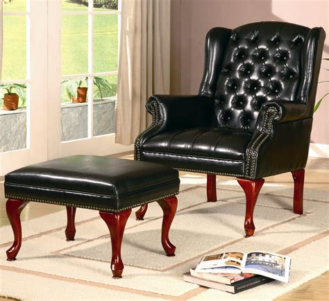 Furniture Alluring Leather Chair And Ottoman For Home
