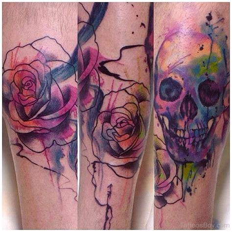 watercolor skull tattoo designs shoulder tattoos designs pictures page 16
