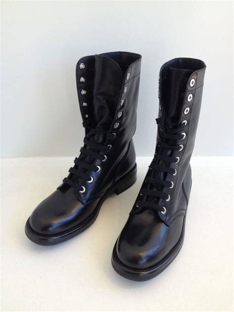 chanel combat boots chanel black leather combat boots at 1stdibs