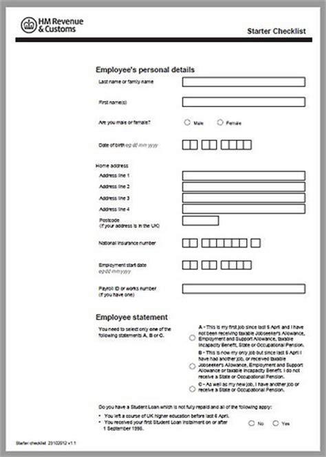 printable version of hmrc starter checklist browzer university of liverpool
