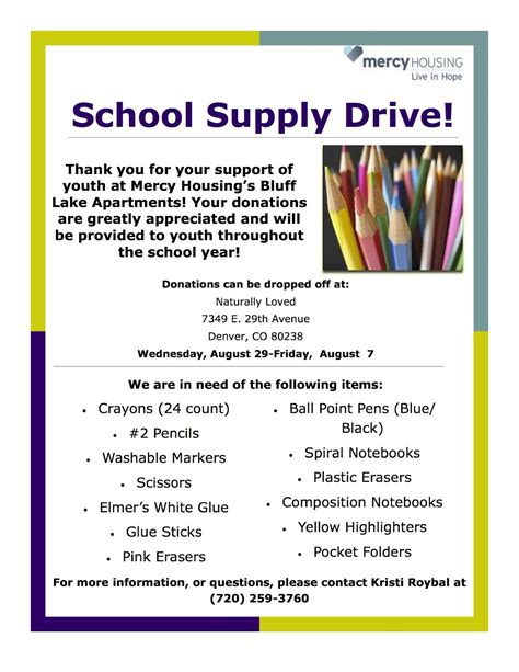 school supply drive flyer templates stapleton moms school supply drive for mercy housing s