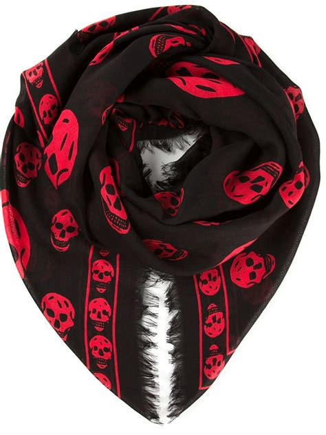 mcqueen skull scarf in for black lyst