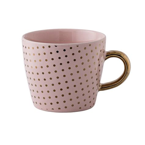 cute mugs henrietta pink mug with gold dots and golden handle