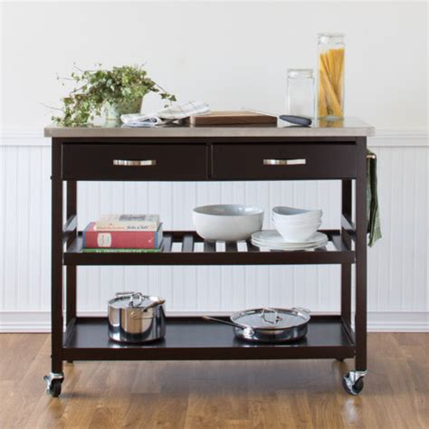 kitchen island cart with stainless steel top modern