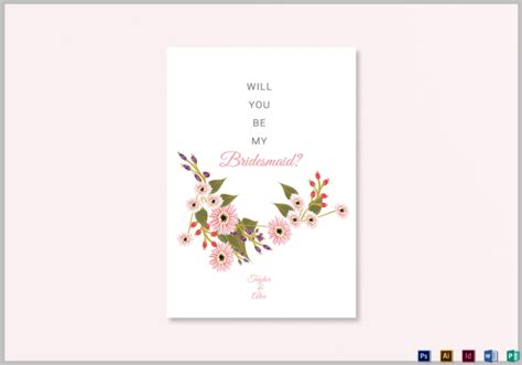 will you be my bridesmaid card template 19 bridesmaid cards editable psd ai indesign format