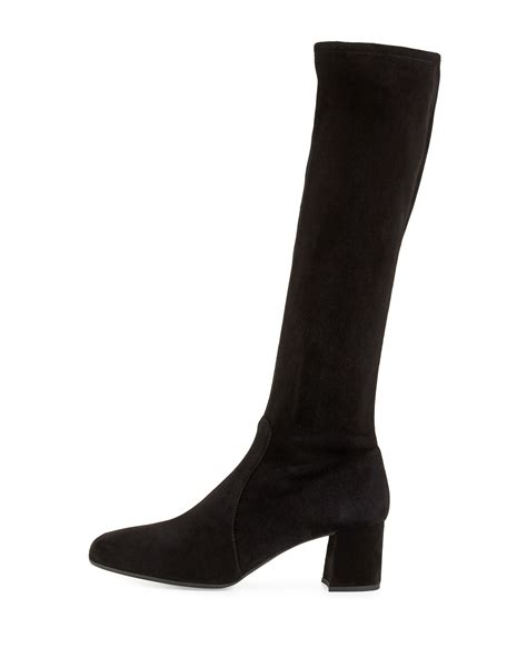 prada stretch suede knee boot in black lyst