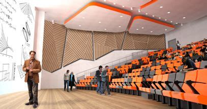 lecture hall   bright color ceiling design feature