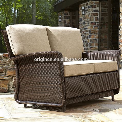 wicker glider loveseat deluxe parkside style wicker outdoor garden patio loveseat