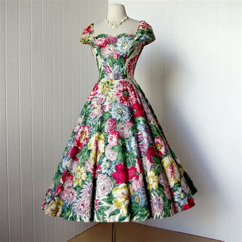 Dress Flower Vintage vintage 1950 s dress gorgeous alix of miami rhinestone studded floral novelty print