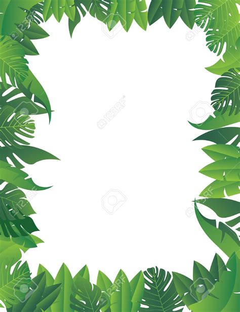 Jungle Clipart Jungle Foliage Pencil And In Color Jungle Clipart Jungle Foliage Leaf Border Template