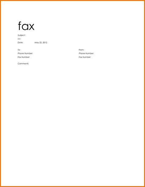 Fax Cover Template Microsoft Word
