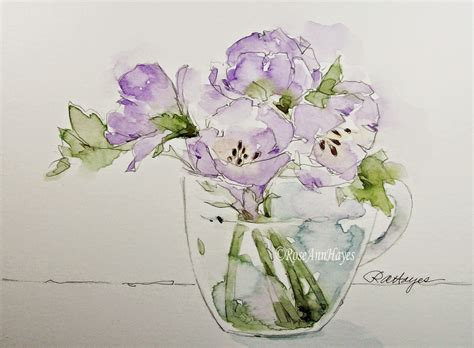 watercolor tutorial glass watercolor paintings by roseann hayes lavender flowers in
