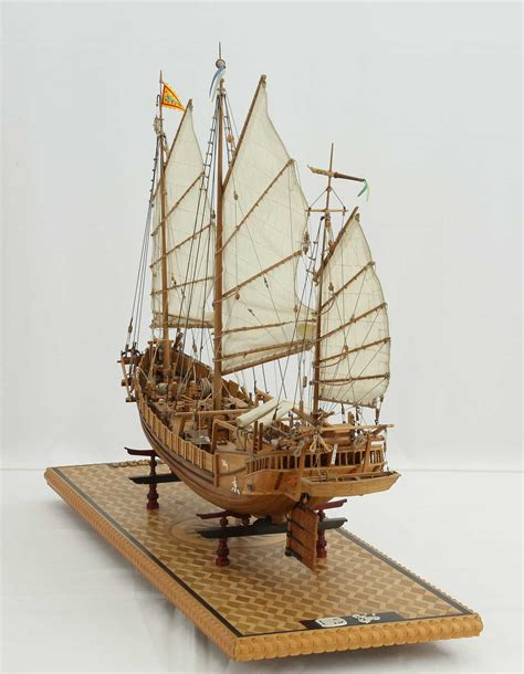 ship model chinese seagoing junk   views  entire model