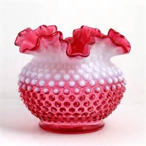 White Milk Glass Vases Fenton Cranberry Opalescent Hobnail Vase Vintage Ruffled