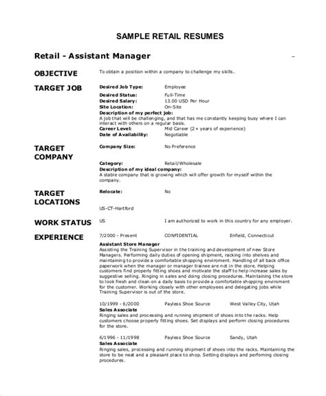 Store Manager Resume Objective by Retail Objective For Resume 28 Images 10 Retail Resume Exle And Tips Writing Resume Sle