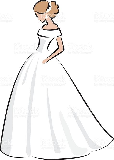 Wedding Dress Vector by Color Sketch Of An In White Wedding Dress